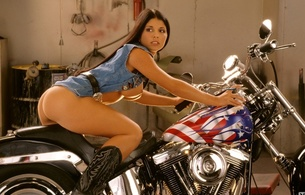emmanuelle cyr, ass, custom bike, playboy, brunette, boobs