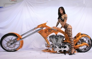 custom chopper, babe, sexy, straps, brunette, costum bike, high heels, sexy babe, bombooclaat, monica, actiongirls, costumbike, taped, sexy, action girls, mason