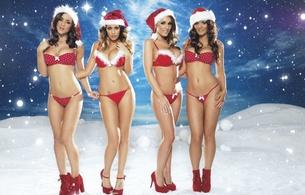 lucy pinder, rosie jones, holly peers, india reynolds, sexy, christmas, models, heels, snow, stars, x-mas