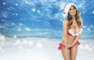 lucy pinder, santa hat, model, snow, christmas, babe