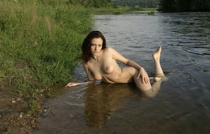 aleksa, model, domai, brunette, nude, boobs, river, grass, water, wet