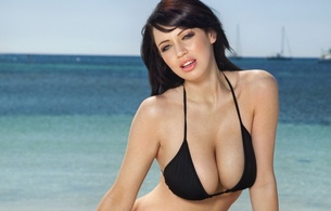 sophie howard, girl, babe, hot, body, huge, breasts, tits, boobs, brunette, water