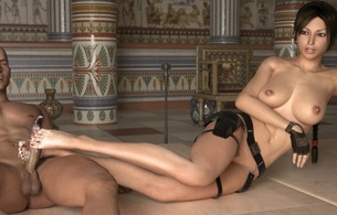 lara croft, nude, tits, model, footjob, cum, tomb raider, tomb rider, 3d, virtual