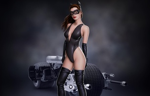 art, anne, anne hathaway, catwoman, bike, batman, movie, artwork, hi-q, actress, hollywood, celebrity, tight clothes, fetish babe