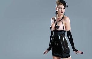blonde, latex, fetish, rubber, erotic, sexy babe, minimalist wall, topless, black, robe, gloves, model, pin up style, modern, victoria fairbrother, hi-q, shiny clothes, lingerie series, fetish babe