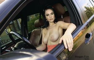 megan fox, boobs, car, actress, fake, celebrity fake, hollywood, jules fake, large areola, sunglasses, top down, tits out, big tits, tits