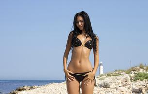 kara mpl, macy b, brunette, sexy, cutie, bikini, sea, beach, camel toe, big hips, outdoors