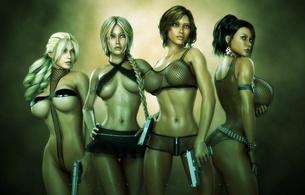 3d, art, sexy, hot, fantasy, boobs, big tits, big boobs, gun, busty babe, large breasts, girls and guns, fantasy, big breasts, nipples, 3d art