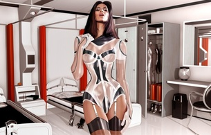 3d, babe, lingerie, latex, fetish, fake, art, shiny clothes, 3d latex, tight clothes, dressed for sex