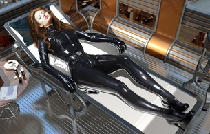 angelina jolie, actress, 3d, virtual, fake, latex, fetish, catsuit, fullsuit, heels, shiny clothes, redhead, laying, tight clothes, shiny, rubber, fetish, fetish babe, widescreen cut