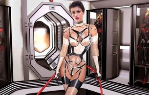 3d, art, fake, virtual babe, sexy babe, latex, fetish, shiny, string, corset, stockings, rubber, brunette, fetish babe, 3d latex