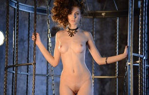 sabrina, brunette, thin, nude, pussy, boobs, small tits, necklace, cage, front, sabrina g, liz w, lisabelle