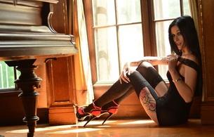 meli deluxe, meli, lingerie, piano, window, stockings, high heels, tattoo, bombshell, brunette, hot legs, hi-q, c-tru, dress, erotic, lingerie series, german, sexy babe, amateur, perfect girl