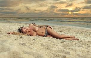 girl, lingerie, boobs, legs, tits, sunrise, beach, sand, sea, clouds