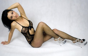 annie, sexy babe, lingerie, fishnet, body, smile, brunette, high heels, posing, fotoshooting, pantyhose, plateau heels, suiseannie, lingerie series