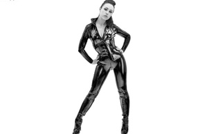 sexy babe, fetish, boots, posing, latex, catsuit, pvc, corset, shiny, knee boots, minimalist wall, shiny clothes, black and white, b&w, mitress domino, mistress, fetish babe, babes in boots