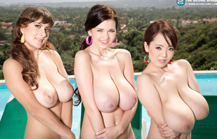 babes, large boobs, smiles, hitomi, hitomi tanaka, sha, sha rizel, valory, valory irene, tits, boobs, breasts, funbags, hooters, norks, jugs, gazongas, knockers, rack, melons, cleavage, nipples, 3 babes, motorboat, heavy artillery, i would eat dat, giant tits