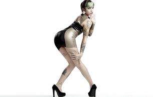 amy bathory, sexy babe, ass, dress, latex, fetish, tattoo, shiny, heels, amy, kev cool photo, kev kool foto, minimalist wall, hi-q, shiny clothes, ass wallpaper, erotic, tattoos, body art, fetish babe