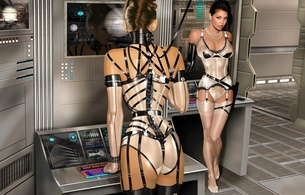 3d, art, fake, virtual babe, sexy babe, latex, fetish, 2 babes, tera patrick, shiny, erotic art, lingerie, stockings, boobs, ass, shiny clothes, fetish babe, 3d latex