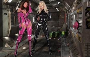 3d, art, fake, virtual babe, sexy babe, latex, fetish, 2 babes, rubber, lingerie, shiny, boots, heels, catsuit, corset, pink, fullsuit, blonde, brunette, slave, femdom, bdsm, shiny clothes, fetish babe, 3d latex, skinny, delicious, sexy, babes in boots