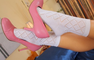 naomi k, socks, high heels, pink