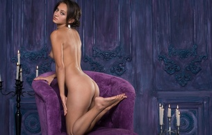 karmen t, brunette, sexy girl, nude, naked, legs, butt, cheeks, candles, flames, chair, shrima malati