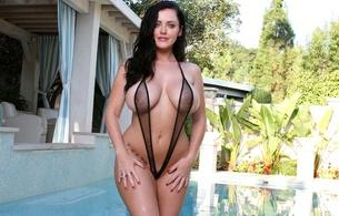 sophie dee, sexy, boobs, model, brunette, bikini, micro bikini, big tits, wet, pool, knockers, hoops, juggs, funbags, gazongas, super boobs