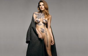 girl, sexy, boobs, tits, body art, lake bell