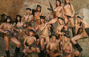 multi-celebrity, nude, group, fake, guns, whores, fake, celebrity fake, 12 babes, tits, legs, pussy, boobs, oily, weapons, ak-47, ammo belts, trimmed, cunt, barret, guns, twelve
