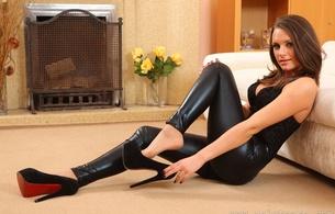 siobhan murray, brunette, wetlook, leggings, heels, sexy, hot, babe, onlytease model