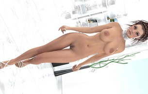 3d, art, fake, virtual babe, sexy babe, nude, tits, pussy, legs, heels, bellybutton, brunette, big tits, boobs, nipples