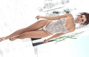 3d, art, fake, virtual babe, sexy babe, lingerie, heels, string, top, white, c-tru, updo, brunette, legs