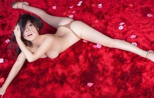 girls, lingerie, nude, boobs, legs, tits, brunette, jiao jiao, heels, spread wide, string, ass, nice rack