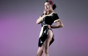 young, model, pink, green, hair, tattoo, posing, standing, black, latex, dress, maid, uniform, rubber, fetish, french maid, erotic art, kev kool foto, lingerie series, fetish babe