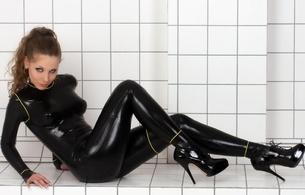 alina, brunette, german, model, sexy babe, sitting, bathroom, black, latex, catsuit, rubber, fetish, shiny, high heels, catsuitmodel.de, heels, fetish babe