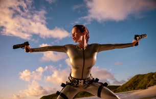 bianca beauchamp, canadian, model, redhead, sexy babe, fetishqueen, cosplay, lara croft, tomb raider, beach, sand, water, wet, latex, catsuit, decollete, queue, pistols, rubber, fetish, tomb raider set, bianca, girls and guns, fetish