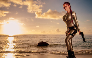 bianca beauchamp, canadian, model, redhead, sexy babe, fetishqueen, cosplay, lara croft, tomb raider, beach, sand, water, wet, latex, catsuit, decollete, queue, pistols, sundown, rubber, fetish, tomb raider set, bianca, fetish babe