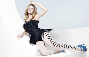 kylie minogue, blonde, sexy babe, singer, celbrity, blue, heels, lingerie, black, corset, white, pantyhose, kylie, sexy dressed, real celebs wall