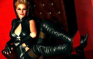 3d, art, virtual babe, blonde, smile, sitting, tight clothes, black, latex, dress, overknee boots, stockings, 3d latex, erotic, fetish babe, shiny, rubber, fetish