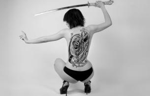 teresa, young, model, brunette, short hair, heels, black, panty, kneeling, nice rack, tattoo, body art, katana, erotic art, black and white, sword, hi-q