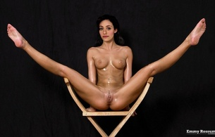 emmy rossum, emanuelle grey rossum, actress, singer, fake, brunette, sitting, nude, chair, tiny tits, nipples, spread wide, legs, pussy, smile, celebrity fake, norelation fake