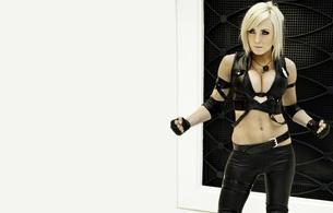 jessica, nigri, sexy babe, blonde, model, shiny, lycra, leggings, top, cosplay, sonya blade, jessica, decollete, gloves, sexy dressed, minimalist wall, jessica nigri, mortal kombat, hi-q