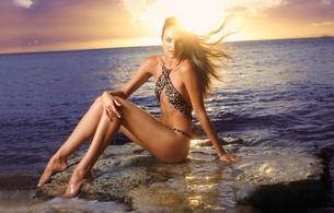 candice swanepoel, brunette, supermodel, sitting, rocks, beach, leopard, bikini, sundown, legs, feet, candice, personality, hi-q, real celebs wall