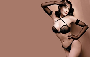 dita von teese, model, sexy babe, actress, glamour, international burlesque star, dita, playmate, dancer, black, lingerie, bra, string, gloves, pin up, retro, minimalist wall, pin up style, red lips, hairstyle, lingerie series, real celebs wall