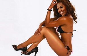 michelle obama, fake, personality, 1st lady, celebrity fake, ebony, sitting, black, bikini, legs, heels, smile, michelle