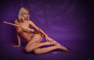 paloma, model, archer, blonde, tits, nipples, puffy nipples, feet, legs, bow, arrow, hi-q
