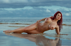 bianca beauchamp, sand, water, nude, outdoors, sexy, tits, pussy, beach, ocean, clouds, blue sky, wet, red hair