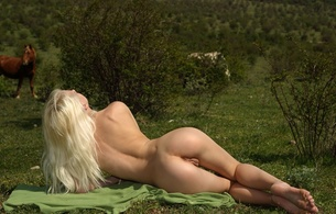 adelia b, blonde, sexy girl, nude, naked, skinny, delicious, shaved, horse