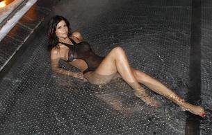 micaela schaefer, german, professional nudist, model, brunette, micaela, swimsuit, black, pool, water, wet, sexy babe, wet hair, c-tru, legs, feet, lingerie series, real celebs wall