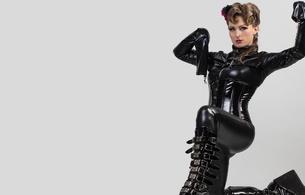 brunette, model sexy babe, lycra, catsuit, boots, pvc, corset, hot, erotic, posing, kneeling, plateau boots, own cut, shiny, fetish, hi-q, lingerie series, shiny clothes, model, sexy babe, minimalist wall, fetish babe, underbust corset, biker boots, babes in boots, ultra hi-q